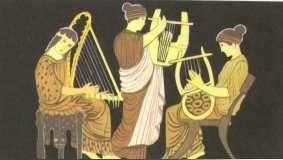 Conjunto grego tocando harpa, cítara e lira